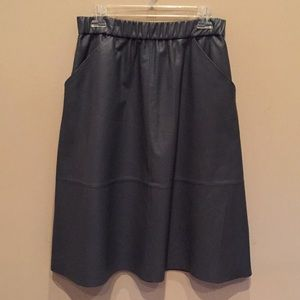 bagatelle Skirts - Bagatelle Gray Leather Skirt Below Knee Flared